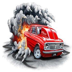 Cartoon Racing Fire Car